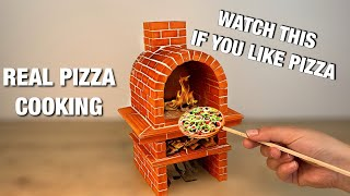 HOW TO BUILD A Miniature PIZZA OVEN from Mini Bricks - BRICKLAYING - mini pizza in the oven!
