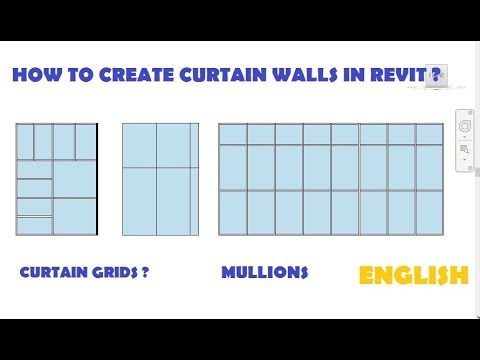 12-HOW TO CREATE CURTAIN WALLS IN REVIT ? -- CURTAIN GRIDS -- MULLIONS   (ENGLISH)