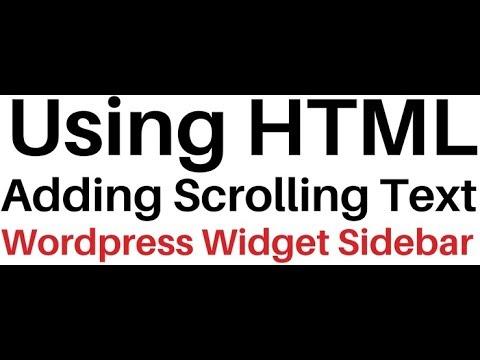 Vertical Scrolling Text To WordPress 4.8 Sidebar Widget Using HTML