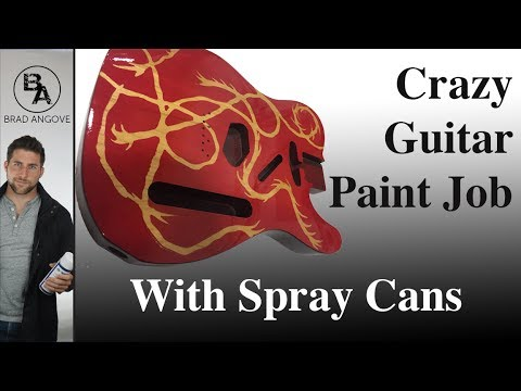 Crazy Transparent Red Guitar Paint Job with Spray Cans