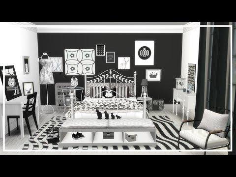 SIMS 4 B&W BEDROOM 💜 Room build + CC List