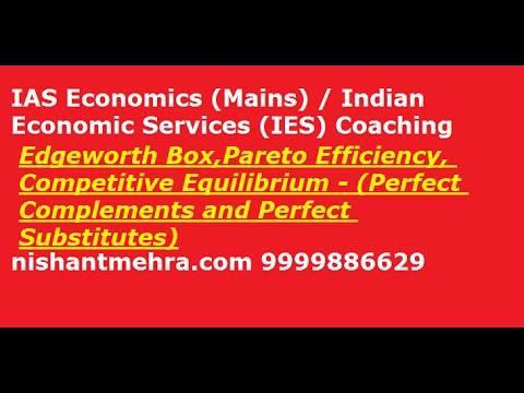 [IAS/IES/UPSC Economics Mains Coaching] Edgeworth Box, Pareto, Comp Eq (Complements & Substitutes)