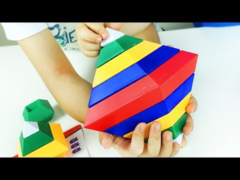 Build w/ Diamond Changeable Blocks Pyramid Cube Assembly. Toy 4 Kids Children. Let's Play Kids.
