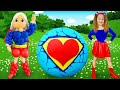 Sasha Rolls A Giant Surprise Egg With Toys In A Supergirl Costume And Helps Friends