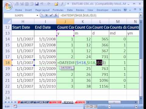 Excel Magic Trick #151: DATEDIF function (between two dates)