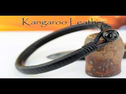 B-095 HOW TO BUY Genuine Kangaroo Leather Men Bracelet.