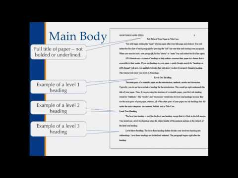 APA Style Main Body and In Text Citations