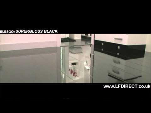 Elesgo Black High Gloss Laminate Floor White Gloss Tile Effect