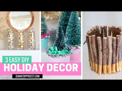 3 Holiday Decor DIY Ideas - Mantle Decor, Bottle Brush Trees, Branch Candles
