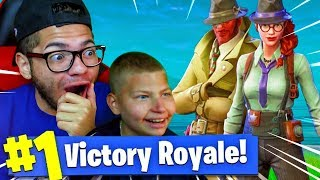 USING JAYDEN TO WIN A GAME OF FORTNITE BATTLE ROYALE! *NEW* SKINS ARE WILD! (MUST WATCH)