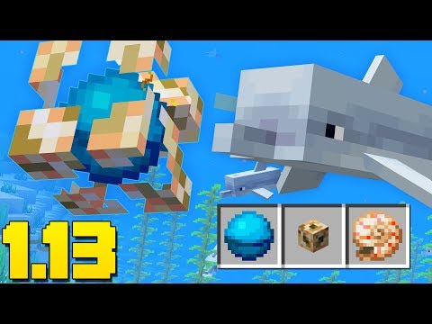 DOLPHINS! Conduit BEACON, New Items (Minecraft 1.13 Snapshot Update)