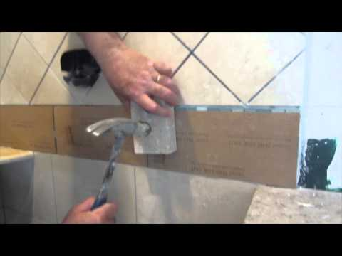 Complete tile shower install Part 7. installing glass tile border