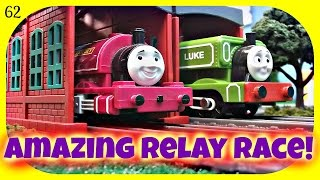 Thomas and Friends Amazing Relay Race 64! Trackmaster Racing