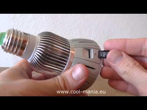 Bulb spy camera with IR + motion detection + sound control (www.cool-mania.com)