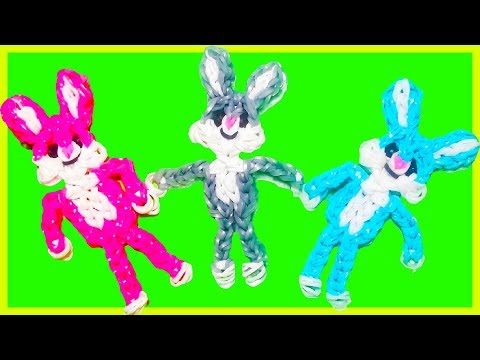 🌈 How to make loom bands animals easy BUNNY / RABBIT with forks charms for kids tutorial DIY