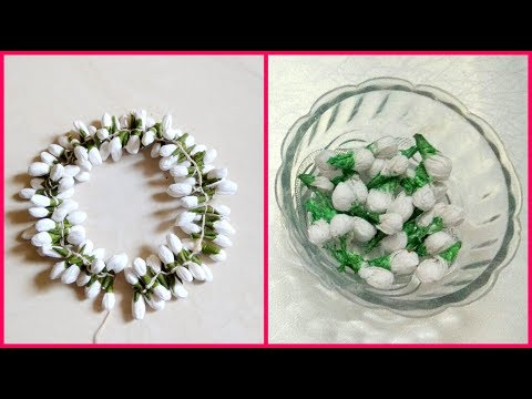 DIY - how to make Jasmine Garland(Gajra) using Tissue Paper   Beautiful Hair accessory   #96