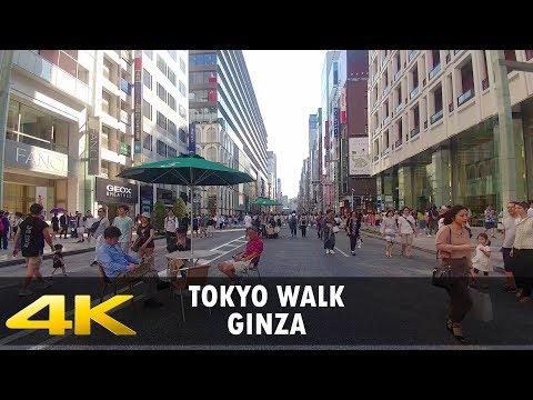 Walking around in Ginza, Tokyo. 4K