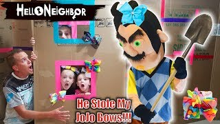 Hello Neighbor in Real Life!!! JoJo Bows Scavenger Hunt! He Stole My JoJo Siwa Bow Collection!!!