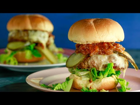 Spicy Turkey Burgers with BBQ Onions