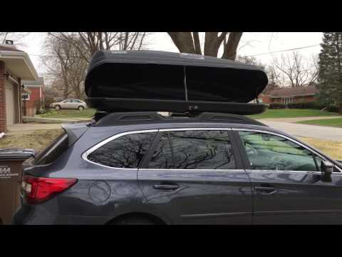Thule Force XL Roof Cargo Carrier - Extended on Subaru Outback