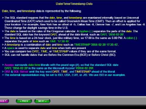 SQL 052 Data Types, Date, Time and Timestamp Data, Compare Database Usage