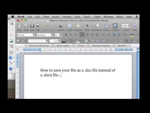 How to Save as a .Doc vs .DocX file in Word 2007 and Word 2008