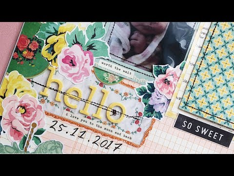 Baby Scrapbook Process | Creating A First Year Baby Book | Ep 05 | 12x12 Layout | Hello
