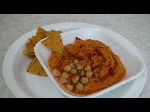 Hummus with Roasted red bell pepper Video Recipe by Bhavna