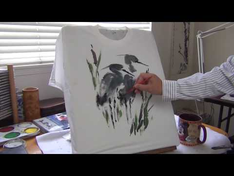 Henry Li showing how to paint a T-shirt with liquid acrylic paints