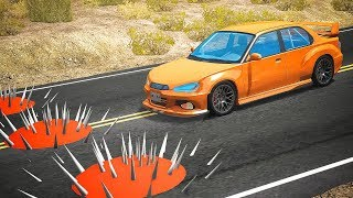 Download Cars Crashes into Spikes Ball Embedded in Road - BeamNG drive Video