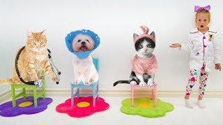 Настя играет в клинику для животных