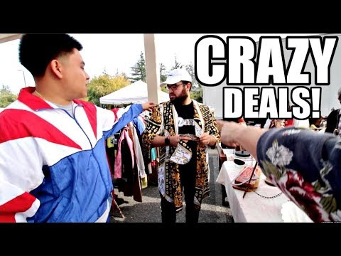CRAZY FLEA MARKET FINDS! ($20 SNEAKER, $5 VERSACE, $10 VINTAGE TRACKSUIT)