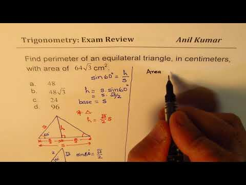 Perimeter of Equilateral Triangle with Area 64 sqrt 3Pre Calculus Review