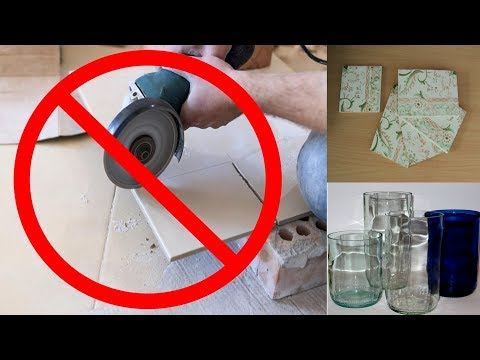 DIY - Perfect Cut Ceramic Tiles & glass bottle at home.