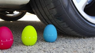 Crushing Crunchy & Soft Things by Car! - EXPERIMENT: COLOR EGGS VS CAR
