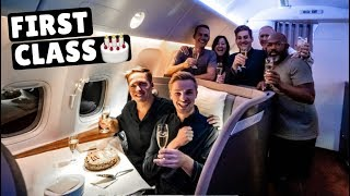 Birthday Party in Cathay Pacific FIRST CLASS (16 hours Hong Kong to New York)