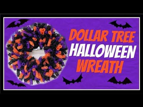 $11 Dollar Tree DIY Deco Mesh Halloween Wreath Tutorial