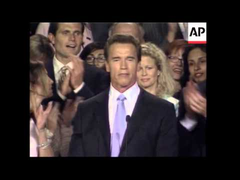 Arnold Schwarzenegger election victory speech