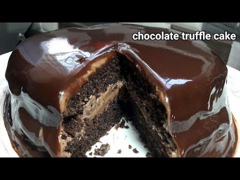 eggless chocolate truffle cake(english voice over)/pressure cooker cake/cake without oven/layer cake