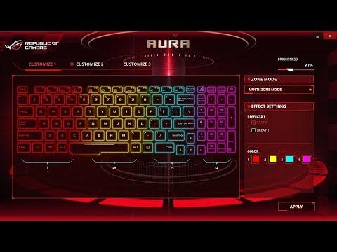 Asus Strix Rog: How To Change Keyboard Colour (RGB Settings - ROG Aura Core)