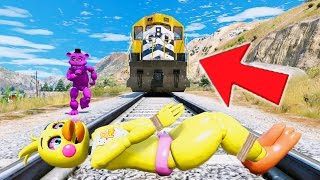 SHADOW FREDDY SAVES CHICA FROM THE TRAIN RUNNING HER OVER! (GTA 5 Mods For Kids FNAF Funny Moments)