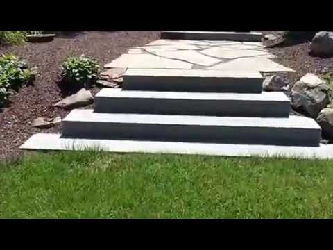 Landscape Project with Brick Patio, Stone Steps & Plants