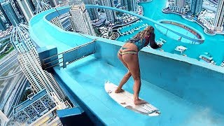 Top 5 Most Insane WATERSLIDE STUNTS Caught On Video!