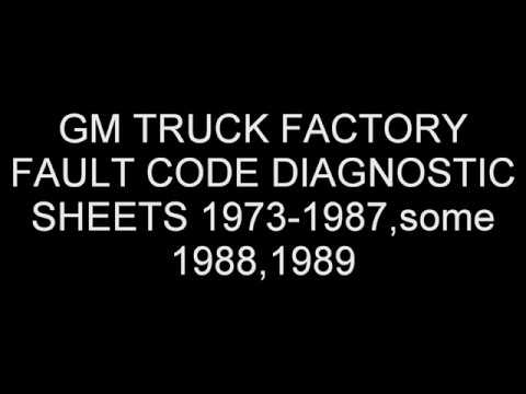 GM TRUCK FACTORY FAULT CODE DIAGNOSTIC SHEETS 1973-1987,some 1988,1989