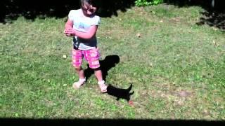 Taking a baby kitten for a walk