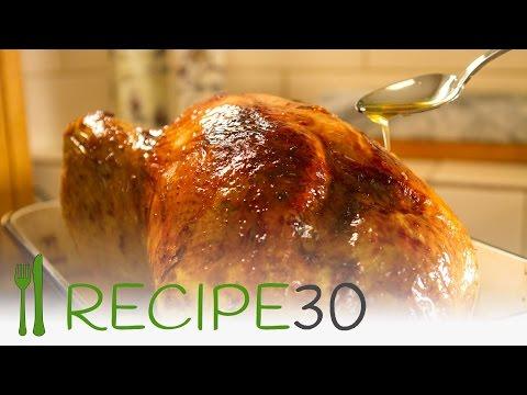 CHRISTMAS CRISPY SKIN JUICY ROASTED TURKEY  bacon laced turkey - By www.recipe30.com