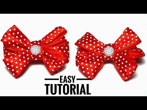 How To Make Cute Ribbon Bows - DIY Hair Bows Out Of Satin Ribbons Easy Tutorial