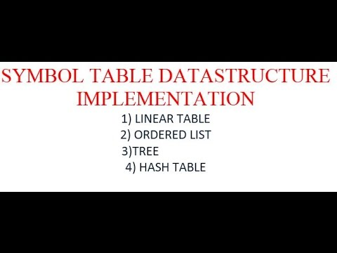 SYMBOL TABLE DATA STRUCTURE IMPLEMENTATION