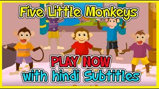 Five Little Monkeys, Nursery Rhymes & Songs with Hindi subtitles