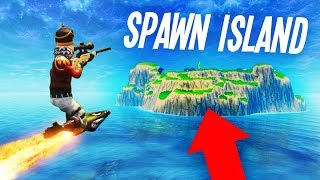 ROCKET RIDING to SPAWN ISLAND on Fortnite!